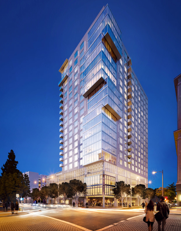 New high rise residential building marks a new era in for Highrise apartments in los angeles